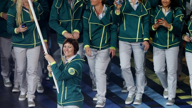 Anna Meares leads the Australian team at the opening ceremony.