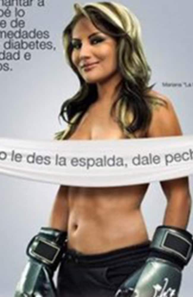 Breast is best ... boxer Mariana Juarez, known in Mexico as La Barbie, strips for the campaign.