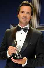 Hamish McLachlan of the Rio 2016 Olympics coverage (Channel Seven), with the Silver Logie for Most Outstanding Sports Coverage, at the 2017 Logie Awards at the Crown Casino in Melbourne, Sunday, April 23, 2017. Picture: AAP Image/Joe Castro