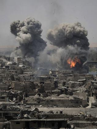 Air strikes target Islamic State in Mosul, Iraq. Picture: AP