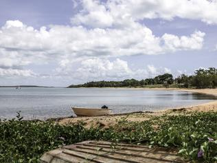 A boat on the bank of the water on Groote Eylandt in the Northern Territory, Tuesday, April 5, 2016. The island is aiming to boost its profile as a boutique holiday destination. (AAP Image/Stephanie Flack) NO ARCHIVING