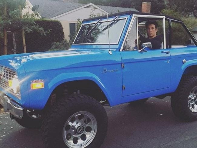 Miles Teller in his vintage Ford Bronco. Picture: Instagram