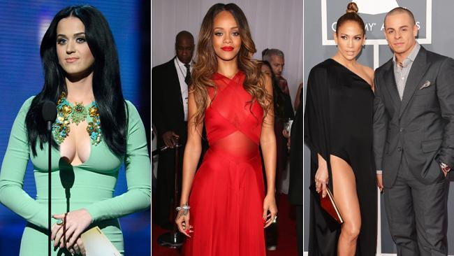 Katy Perry's asset-baring frock; Rihanna looking striking in red; J-Lo with boyfriend Casper Smart. Picture: Getty Images