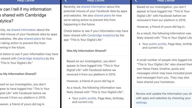 The message Facebook sent to users. Picture: (Facebook via AP)
