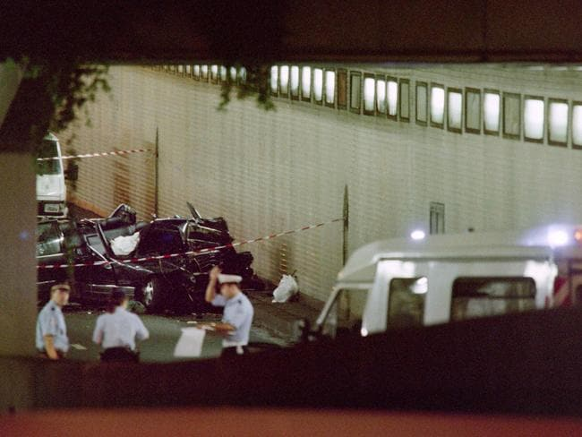 The scene of the fatal crash in Paris in August 1997. Picture: AFP