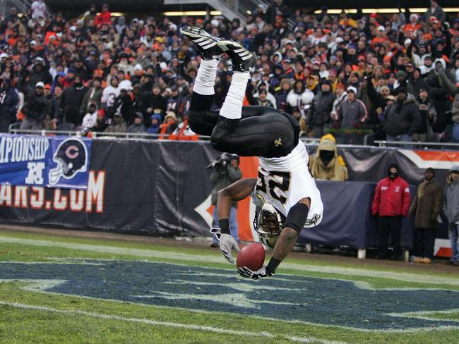 Reggie Bush (seen here scoring a touchdown in New Orleans Saints colours) is one of the most celebrated running backs in the NFL.
