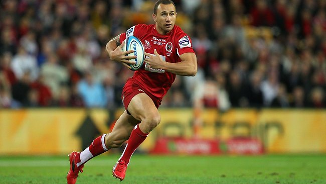 Quade Cooper gets in the clear for the Queensland Reds.
