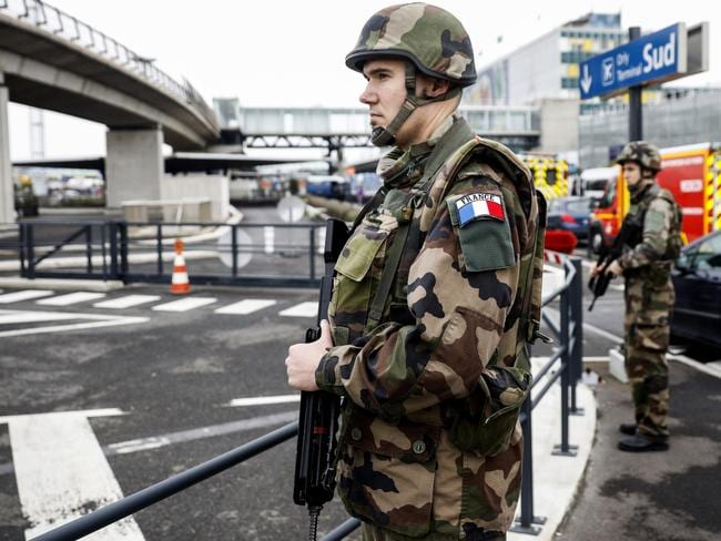 Soldiers patrol at Orly Airport, south of Paris, Saturday, March, 18, 2017. Picture: AP.