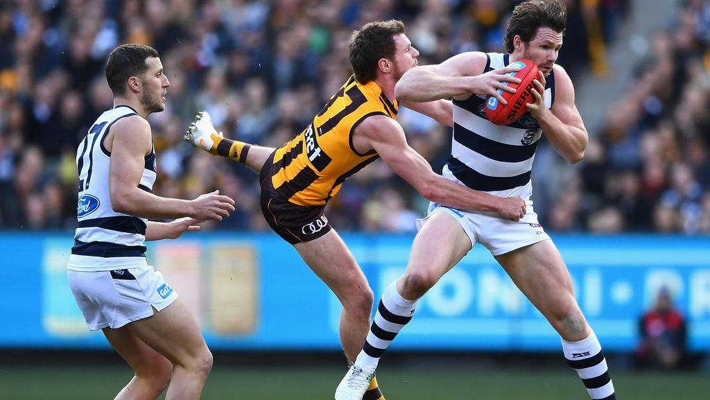 Geelong star Patrick Dangerfield shook off a foot injury to produce a matchwinning display against Hawthorn. Picture: Photo by Quinn Rooney/Getty Images