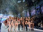 Victoria's Secret Angels cheer during the 2016 Victoria's Secret Fashion Show at the Grand Palais in Paris. Picture: AFP