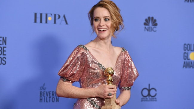 Claire after winning a Golden Globe in January. Photo: Getty