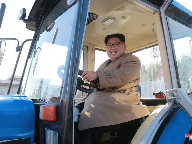 North Korean leader Kim Jong Un sits in a tractor at the Kumsong Tractor Factory, in Nampo, North Korea. Picture: Korean Central News Agency/via AP