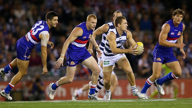 Joel Selwood bursts out of the middle. Picture: George Salpigtidis