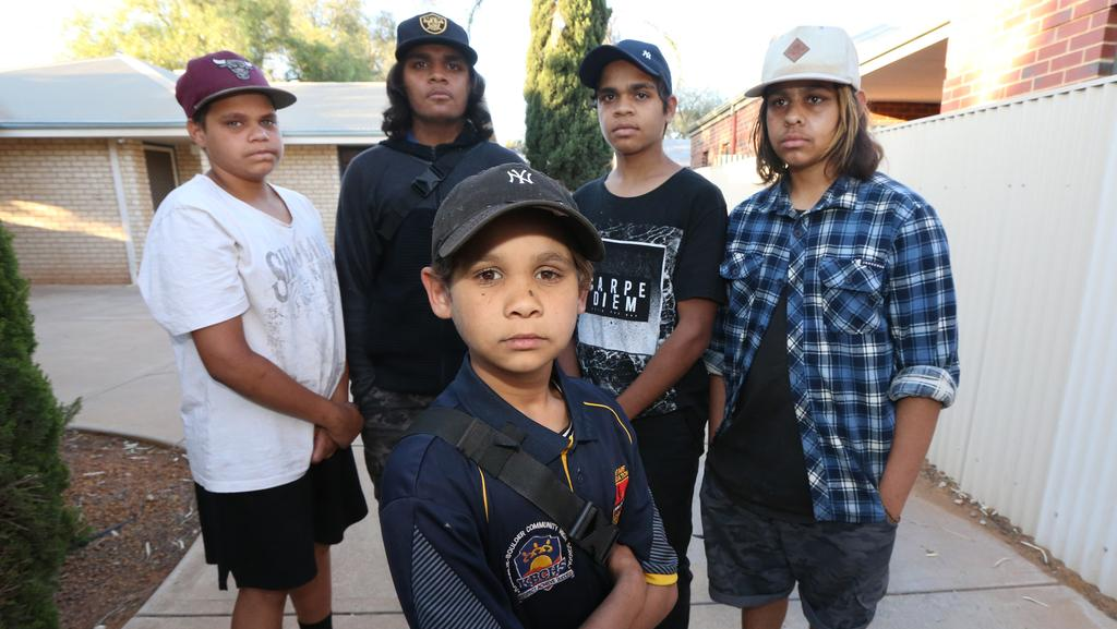 Sean Graham, 15, Herman Garlett, 15, Jasseppie Garlett, 14, Declan Adams, 15 and Joshua Jedda, 14. These young indigenous boys are now speaking out about being hunted down by white vigilantes. Picture: Gary Ramage