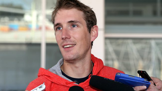 Andy Schleck talks to the media outside Adelaide Airport. Picture: Sarah Reed.