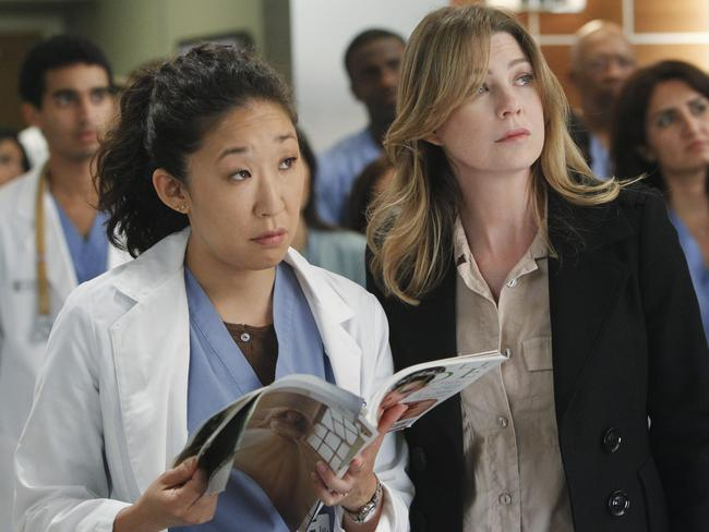 Sandra Oh and Ellen Pompeo in a scene from  <i>Grey's Anatomy</i>.