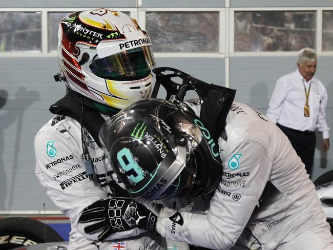 Rosberg 'jokingly' tried to tackle Hamilton after Bahrain.