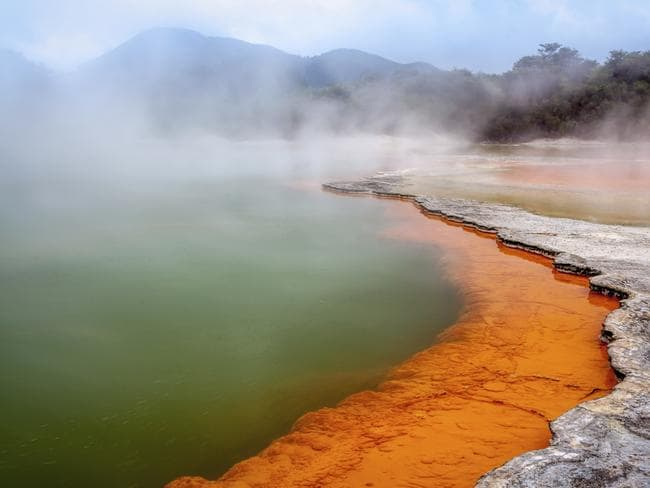 Colourful Champagne Lake at Waiotapu.