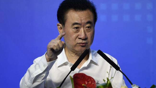 Wang Jianlin speaks during the signing ceremony for the partnership between Wanda and Sunac earlier this month. Pic: AFP