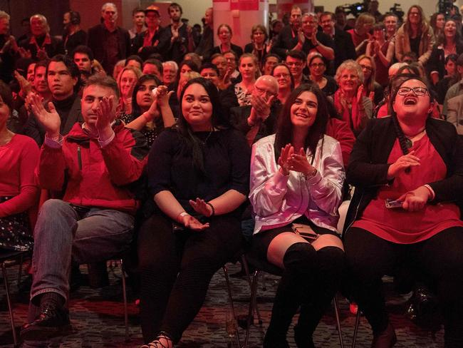 Supporters of Labour Party leader Jacinda Ardern reacts during the party's election event at the Aotea Centre in Auckland. Picture: AFP