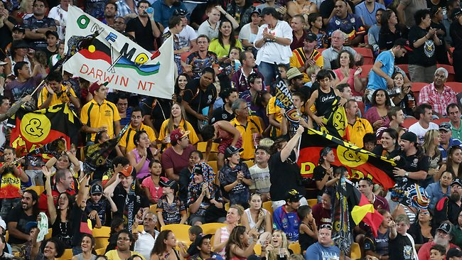 Fans at the Indigenous All Stars v NRL All Stars at Suncorp Stadium. Picture: Peter Wallis