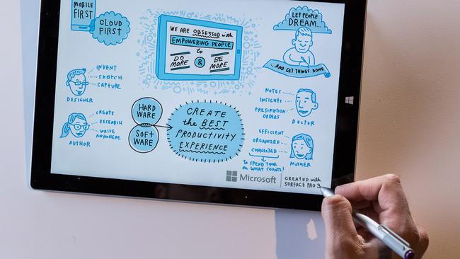 Microsoft's Surface Pro 3 tablet computer comes with a touchscreen-friendly pen.