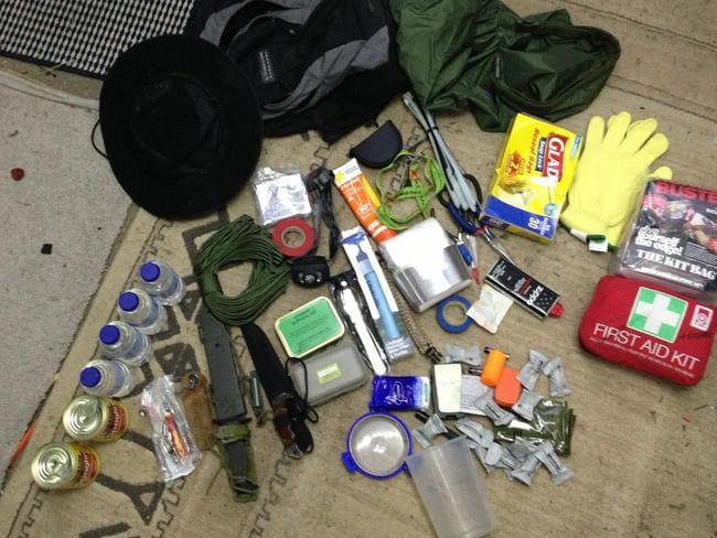 The contents of a bug out bag, which has what you need to last 72 hours. Pic: Screengrab YouTube.