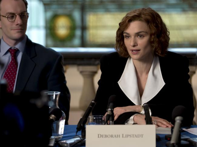Deborah E. Lipstadt (Rachel Weisz) addresses the media in a scene from the film. Picture: Supplied