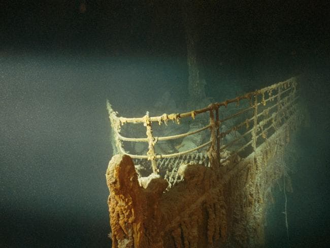 The Titanic at the bottom of the ocean in scene from the TV program Ghosts of the Black Sea.