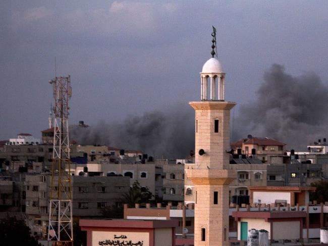 Up in smoke ... Smoke billows following an Israeli air strike in Gaza City, after an Egyptian plan to broker peace was rejected. Picture: AFP