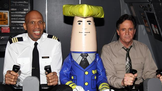 NBA great Kareem Abdul-Jabbar and actor Robert Hays at the Airplane! 30th Anniversary reunion.