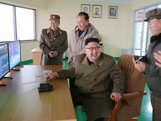 Kim Jong-Un is using some dangerous language for a leader who has the US Navy at his doorstep. Picture: AFP