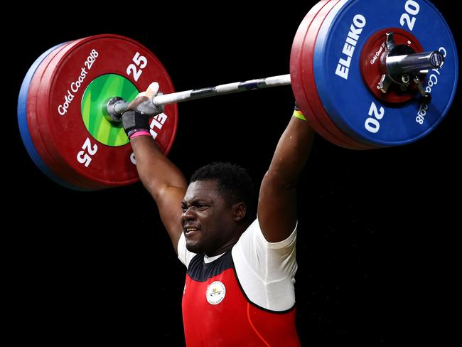 Petit David Minkoumba of Cameroon competed at the Men's 94kg Weightlifting final at the 2018 Commonwealth Games before he disappeared. Picture: Mark Kolbe/Getty Images)