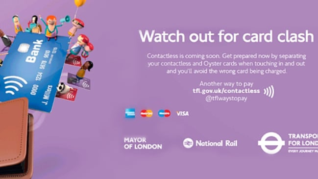 The campaign in London to warn customers not to place their bank cards and smart cards in the same place. Picture: Supplied.