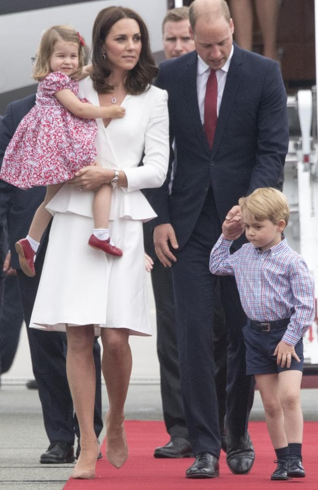 Prince William, Duke of Cambridge and Catherine, Duchess of Cambridge with their children Prince George and Princess Charlotte arrive at Warsaw airport to start a 3 day tour on July 17, 2017. Picture: Arthur Edwards / Pool/ Getty Images.