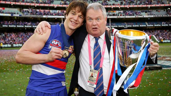 Liam Picken and Peter Gordon with the premiership cup. Picture: Mark Stewart