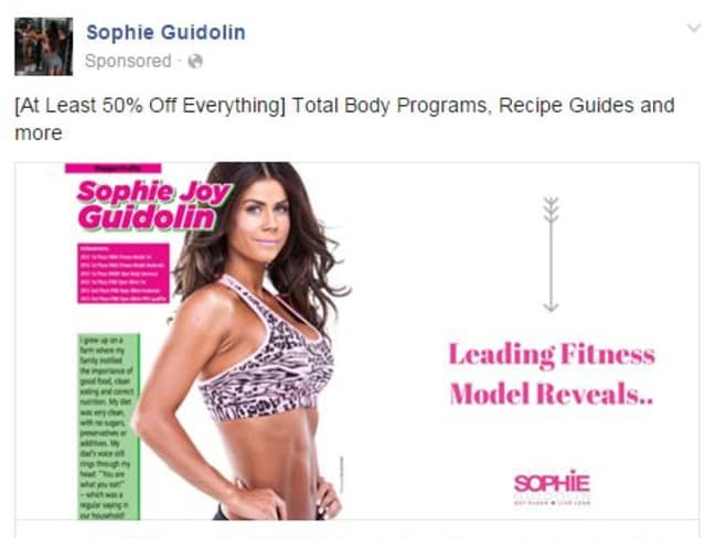 A sponsored post from former bodybuilder Sophie Guidolin, who recently gave birth to twin girls. Picture: Sophie Guidolin.