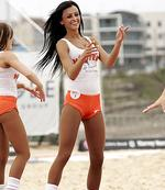 <p>Hooters girls entertain at a beach footy comp at Maroubra Beach. Picture: Sam Ruttyn</p>