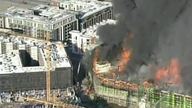 Firefighters are at the blaze, which is near the AT&T Park baseball stadium.