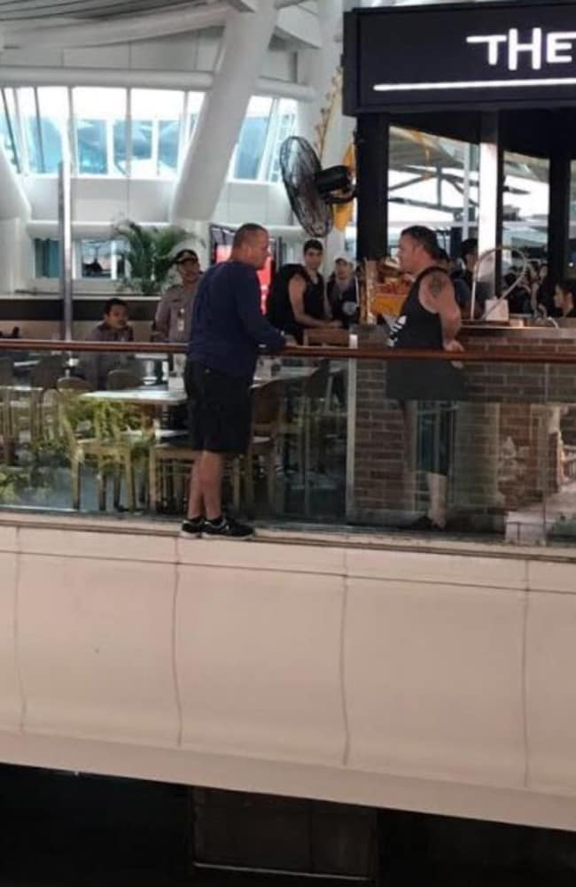 Gregory Butler on the ledge at Bali airport. Picture: Supplied