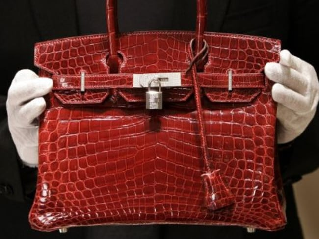 A crocodile-skin birkin bag, with a whopping $US129,000 price tag.