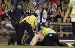<p>Streaker is arrested after he ran onto the field during St George-Illawarra Dragons v Canterbury Bulldogs NRL trial game at WIN Stadium in Wollongong.</p>