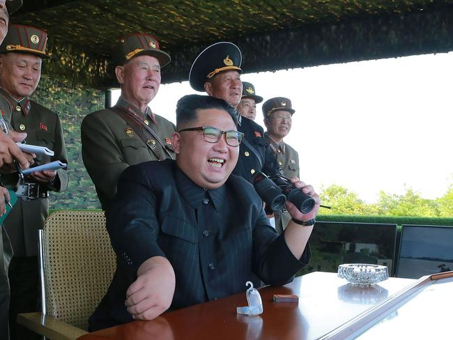 North Korean leader Kim Jong-Un watching over a target strike exercise conducted by the special operation forces of the Korean People's Army last week. Picture: AFP/KCNA