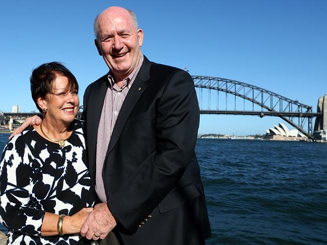 The woman behind the man ... Peter Cosgrove with his wife Lynne in Sydney. Picture: James Croucher