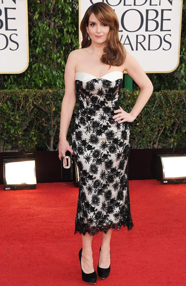Tina Fey wearing a L'Wren Scott dress at last year's Golden Globe Awards. Picture: AP
