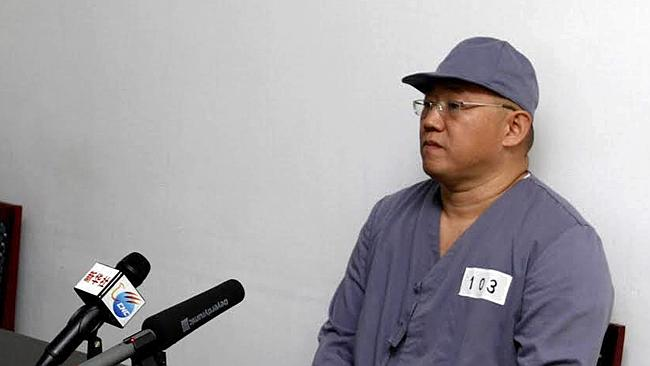 American missionary Kenneth Bae speaks to reporters at Pyongyang Friendship Hospital. Picture: AP