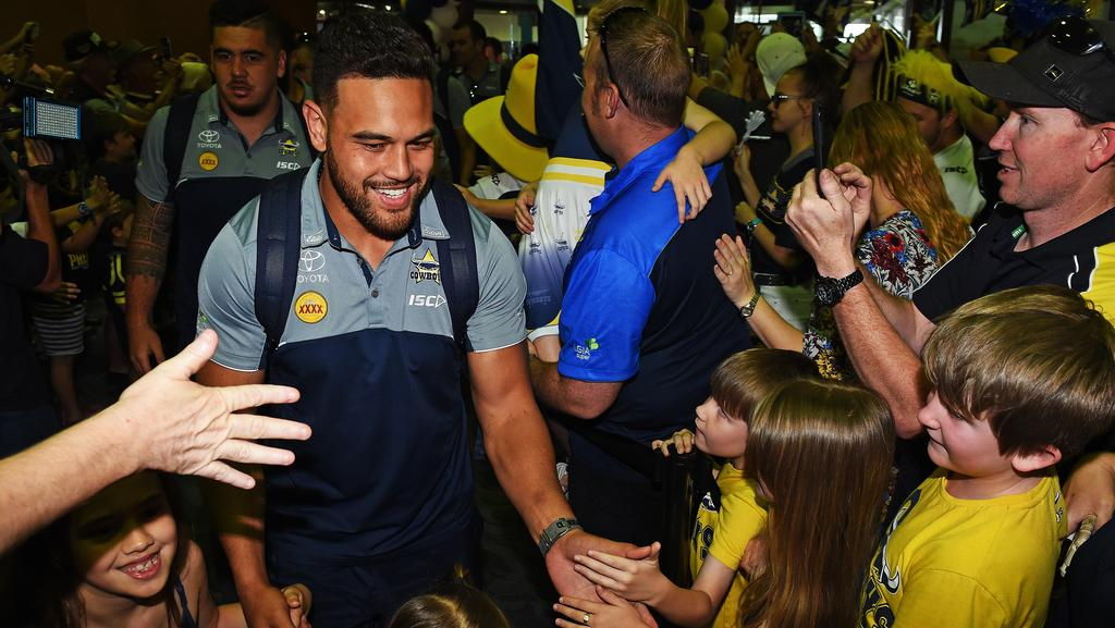 North Queensland Cowboys players return to Townsville after their win against the Parramatta Eels. Picture: Zak Simmonds