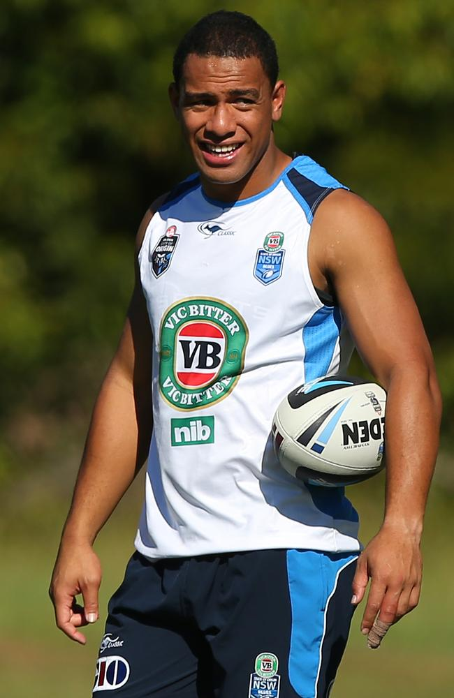 Will Hopoate looks on during the New South Wales Blues State of Origin training.