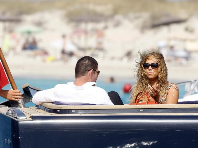 Mariah Carey and James Packer on his luxury yacht. Picture: Splash