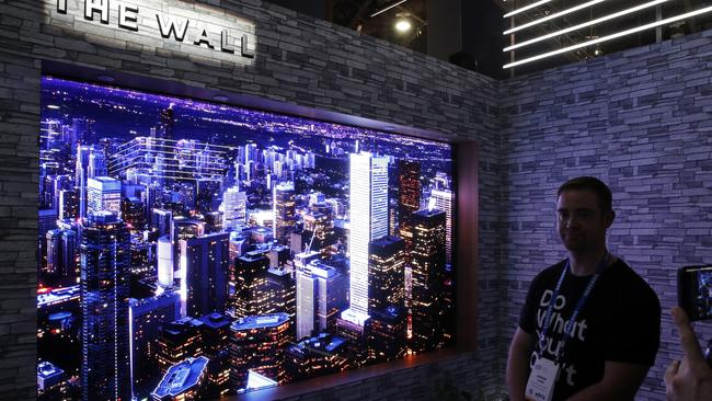 Samsung's new giant 146-inch TV can be used to create a 'wall-sized' display. Picture: John Locher/AP